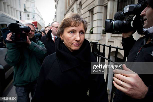 Marina Litvinenko the widow of former KGB agent Alexander Litvinenko leaves the High Court after attending the first day of the inquiry into her...