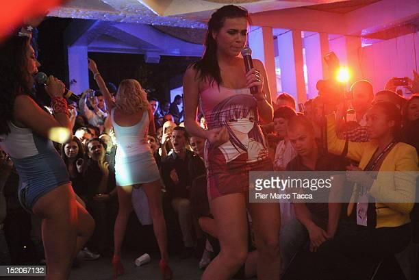 Marina Lizorkina Elena Temnikova and Marina Lizorkina Russia's group Serebro perform at Le Rotonde on September 15 2012 in Garlasco Italy