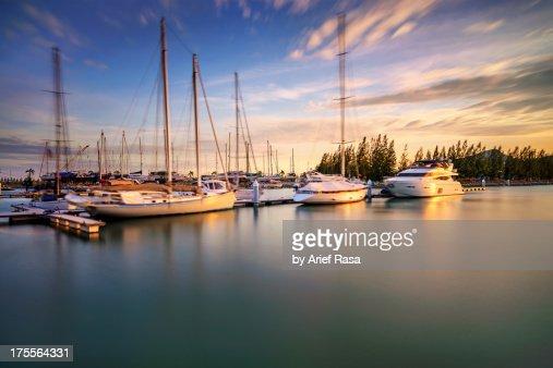 Marina Lumut In Sunset