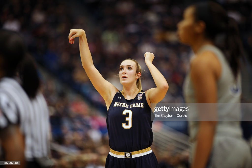 Marina Mabrey #3 of the Notre Dame Fighting Irish during the the UConn Huskies Vs Notre Dame, NCAA Women's Basketball game at the XL Center, Hartford, Connecticut. December 3, 2017