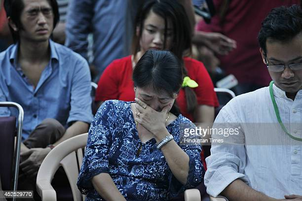 Marina Nido mother of late Nido Tania broke down attending a candle light protest to condemn murder of Manipuri youth at Jantar Mantar on July 22...