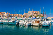 View on Calvi, Corsica, France as seen from the marina.