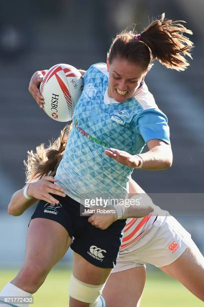 Marina Petrova of Russia is tackled during the HSBC World Rugby Women's Sevens Series 2016/17 Kitakyushu 5th place playoff between Russia and England...