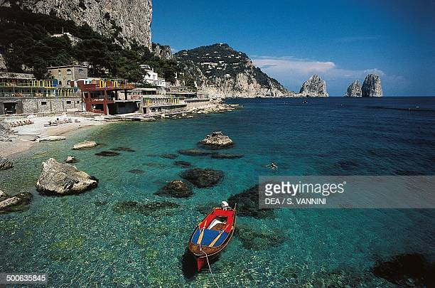 Marina Piccola with the Faraglioni in the background Isle of Capri Campania Italy