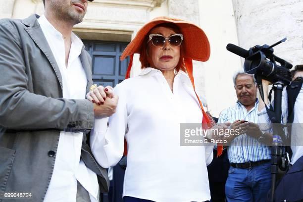 Marina Ripa di Meana attends during the Carla Fendi Funeral at Chiesa degli Artisti on June 22 2017 in Rome Italy