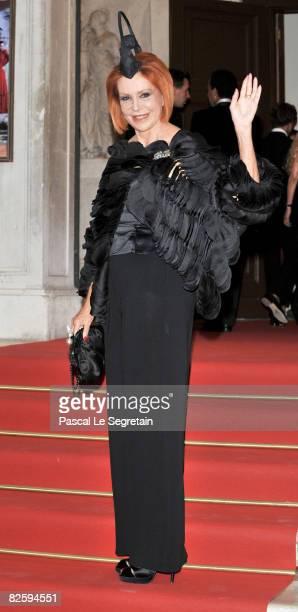 Marina Ripa di Meana attends the premiere of the movie 'Valentino The Last Emperor' held at Teatro La Fenice during the 65th Venice Film Festival on...