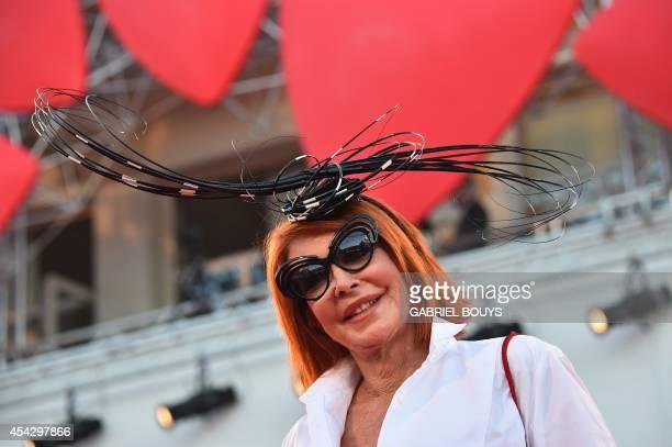 Marina Ripa Li Meana arrives for the screening of the movie 'La Rançon de la Gloire' presented in competition at the 71st Venice Film Festival on...