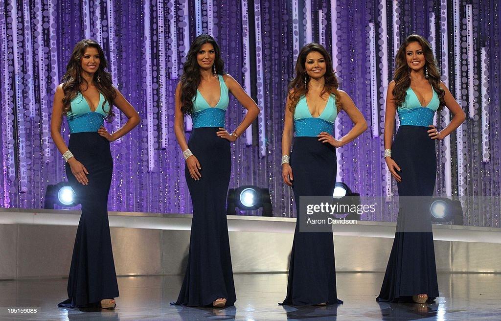 Marina Ruiz, Barbara Turbay, Marisela Demontecristo and Lilia Fifield attend Univisions Nuestra Belleza Latina Finalists Revealed at Univision Headquarters on March 31, 2013 in Miami, Florida.