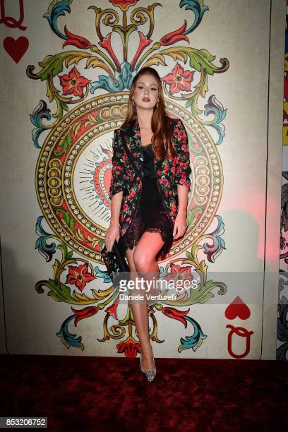 Marina Ruy Barbosa attends Dolce Gabbana Queen Of Hearts Party show during Milan Fashion Week Spring/Summer 2018 at on September 24 2017 in Milan...