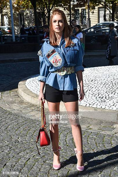 Marina Ruy Barbosa is seen arriving at Miu Miu Fashion show during Paris Fashion Week Spring/Summer 2017 on October 5 2016 in Paris France