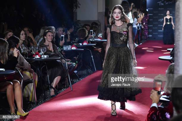 Marina Ruy Barbosa walks the runway at the Dolce Gabbana secret show during Milan Fashion Week Spring/Summer 2018 at Bar Martini on September 23 2017...