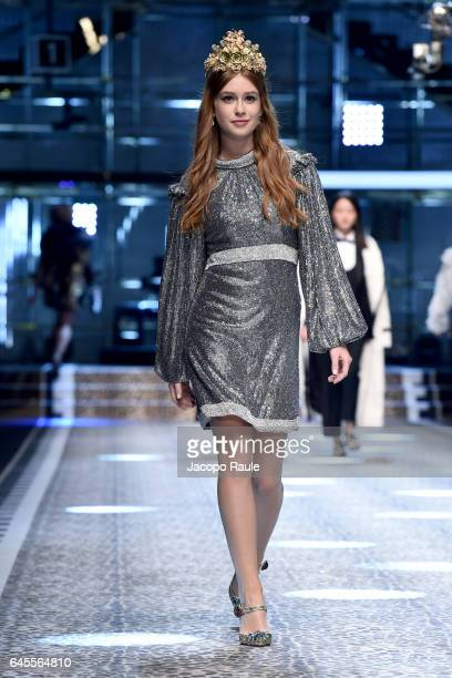 Marina Ruy Barbosa walks the runway at the Dolce Gabbana show during Milan Fashion Week Fall/Winter 2017/18 on February 26 2017 in Milan Italy