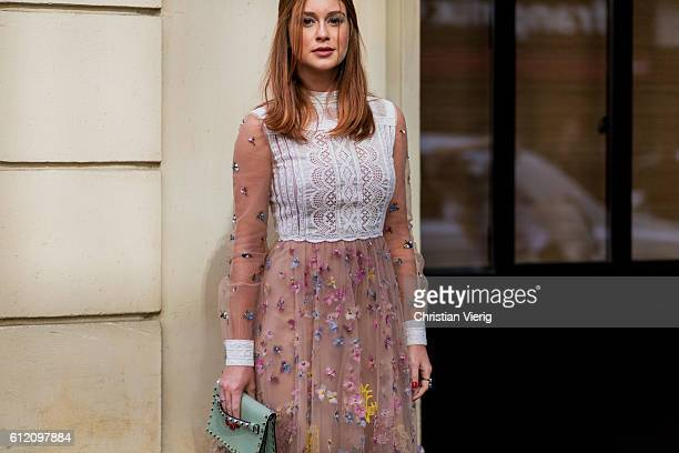 Marina Ruy Barbosa wearing a Valentino dress on October 2 2016 in Paris France
