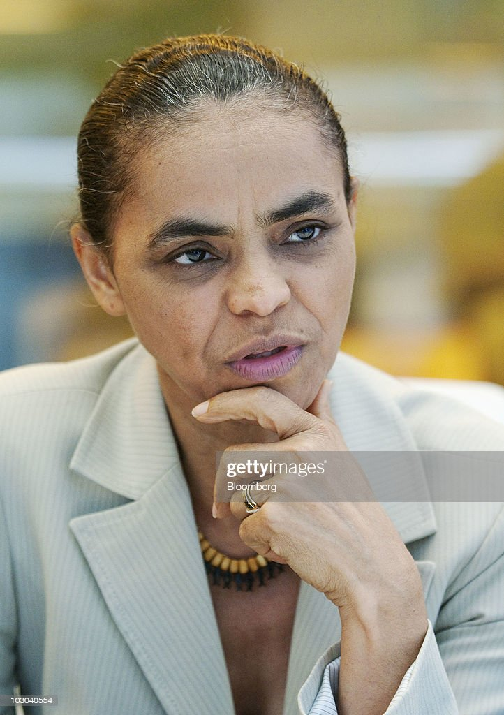 Marina Silva, Brazil's former environmental minister and Green Party presidential candidate in Brazil's presidential election, speaks during an interview in New York, U.S., on Thursday, July 22, 2010. In the race to succeed President Luiz Inacio Lula da Sliva, only Marina Silva can match the former union leader's up-by-the-bootstraps biography. Photographer: Jonathan Fickies/Bloomberg via Getty Images