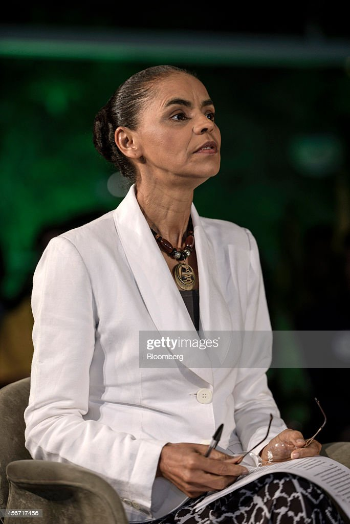 Marina Silva, presidential candidate from the Brazilian Socialist Party (PSB), prepares to speak to supporters after losing the country's national election in Sao Paolo, Brazil, on Sunday, Oct. 5, 2014. Brazilian President Dilma Rousseff of the Workers Party, or PT, had 42 percent of the votes in yesterday's election, followed by Aecio Neves of the Brazilian Social Democracy Party, known as PSDB, with 34 percent, and Silva with 21 percent, Brazils Superior Electoral Court reported based on 99.99 percent of ballots counted. Photographer: Paulo Fridman/Bloomberg via Getty Images