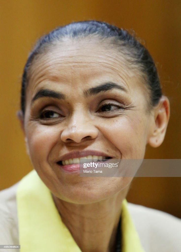 Brazilian Presidential Candidate Marina Silva Campaigns In Rio