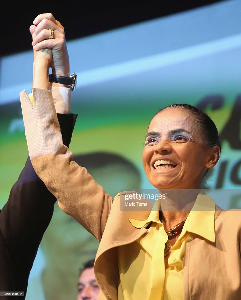Marina Silva, presidential candidate of the Brazilian Socialist Party, smiles while attending a campaign event at the Engineering Club on September 11, 2014 in Rio de Janeiro, Brazil. Silva discussed her policies on energy and oil at the event.