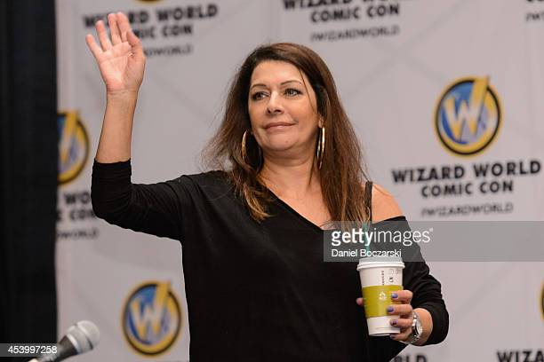 Marina Sirtis attends Wizard World Chicago Comic Con 2014 at Donald E Stephens Convention Center on August 22 2014 in Chicago Illinois