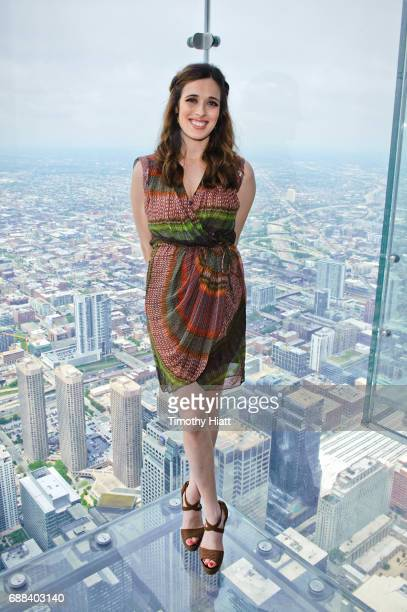Marina Squerciati lights Willis Tower in honor of Red Nose Day at Willis Towerat Willis Tower on May 25 2017 in Chicago Illinois