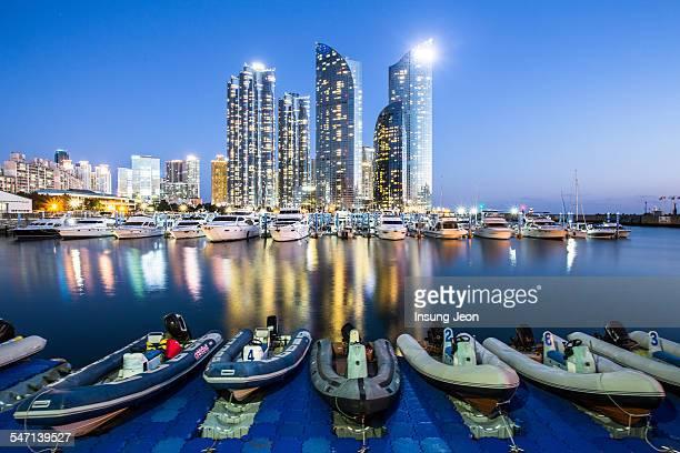 Marina Yacht harbor at night