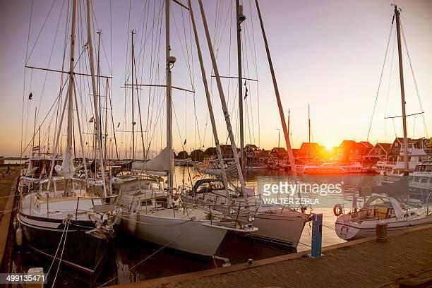 Marina yachts at sunset, Vollendam, Netherlands