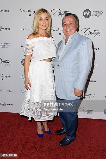 Marina Yampolsky and Michael Yampolsky attend Haute Living Haute 100 Dinner presented by Dom Perignon at Tamarina at Brickell World Plaza on May 6...