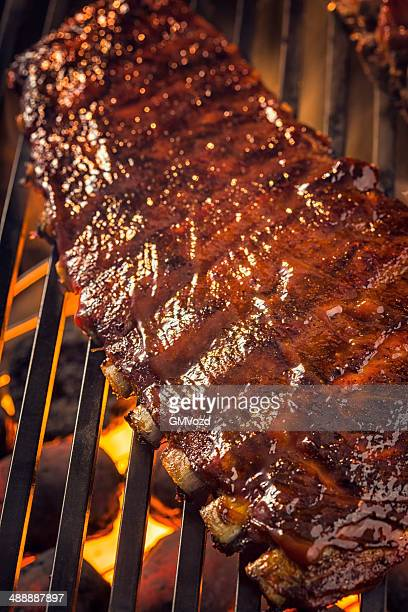 Marinated BBQ Pork Ribs on Barbecue Grill
