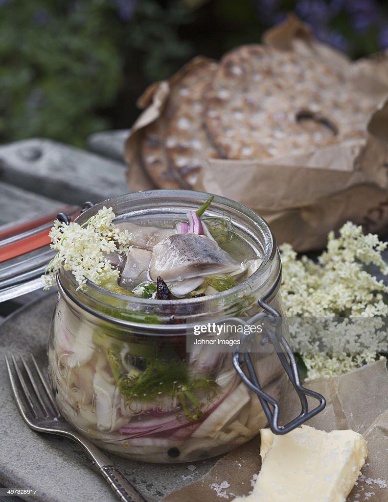 Marinated herring in jar, Sweden