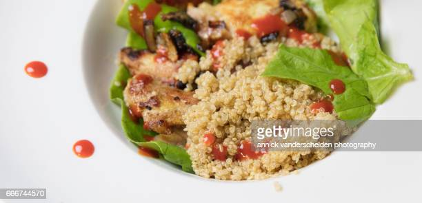 Marinated pork, quinoa and salad.