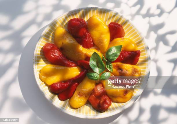Marinated red and yellow bell peppers