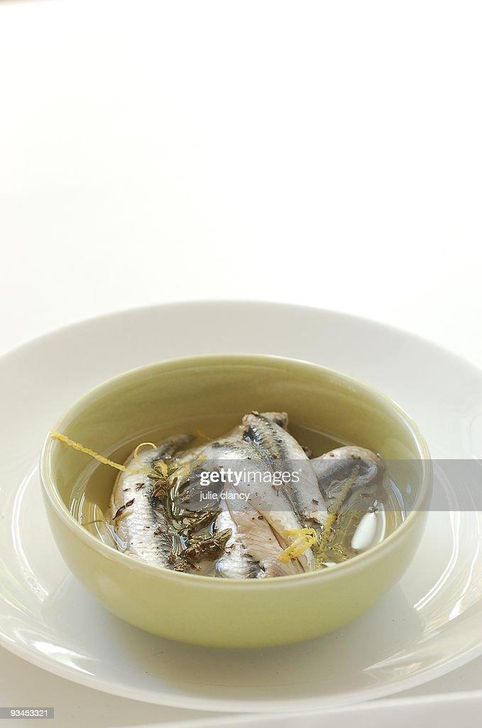 Marinated white anchovies