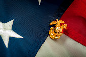 Macro image of the US Marine Corps emblem on the American flag