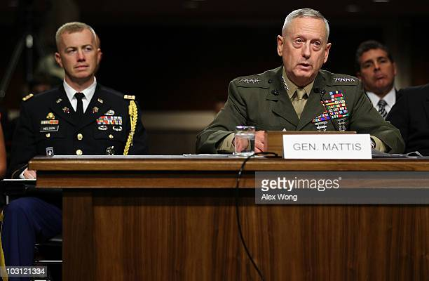 Marine Corps Gen James Mattis testifies during his confirmation hearing July 27 2010 on Capitol Hill in Washington DC Mattis will become the next...