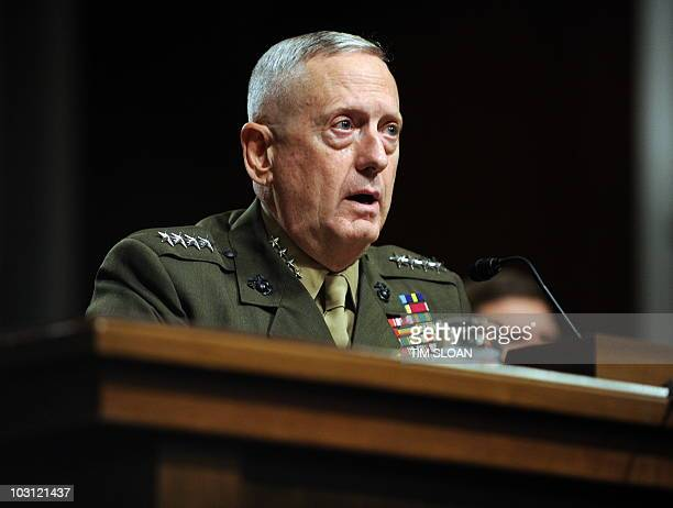 US Marine Corps General James Mattis testifies before the Senate Armed Service Committee hearing for his reappointment to the grade of general and to...