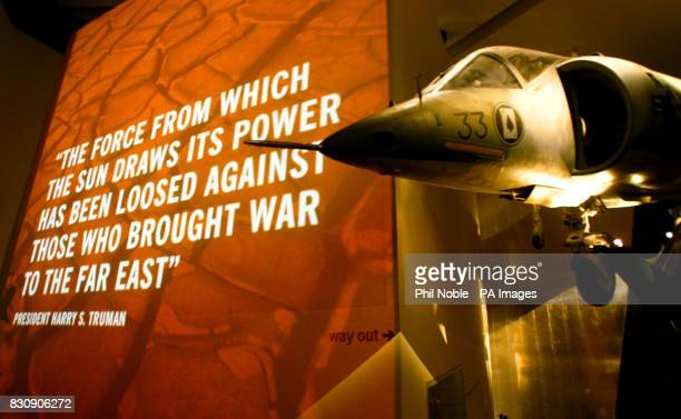 Marine Corps Harrier Jump Jet hangs in front of an audiovisual display inside the Imperial War Museum North in Manchester The museum is the first...