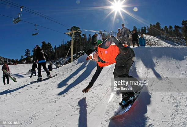 LAKE CA Marine Corps LCpl Jonathan Wescott 23 gets a wobbly start at the top of Bear Mountain Ski Resort on opening day of ski season in the San...
