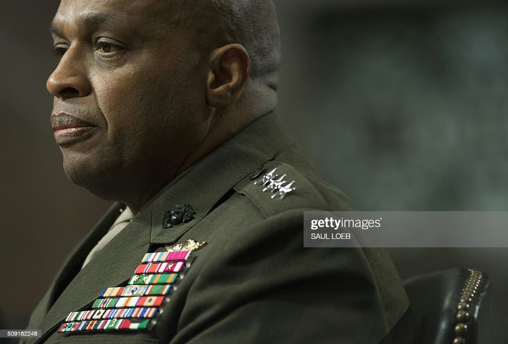 Marine Corps Lt. Gen. Vincent Stewart, director of the Defense Intelligence Agency, testifies during a Senate Armed Services Committee hearing on Capitol Hill in Washington, DC, February 9, 2016. The global threat posed by the Islamic State group is still rising but US-based homegrown extremists pose the biggest danger to the homeland, Washington's top spy said February 9. In a report prepared for US lawmakers before he was due to address a Senate panel, Director of National Intelligence James Clapper said US-based extremists pose 'the most significant Sunni terrorist threat.' / AFP / Saul LOEB