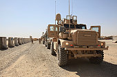 U.S. Marine Corps Mine Resistant Ambush Protected all-terrain vehicles.