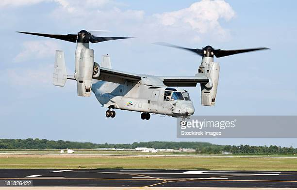 A U.S. Marine Corps MV-22 Osprey lifts off during a successful biofuel test flight.