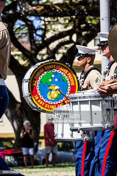 US Marine Corps Pacific Fleet Band In Military uniform marching and playing drums in the annual downtown local King Kamehameha Day Parade in Honolulu...