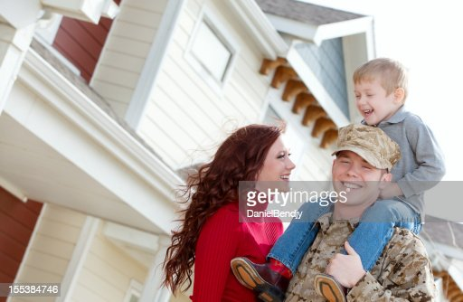 U S Marine Corps soldier & Family outdoor