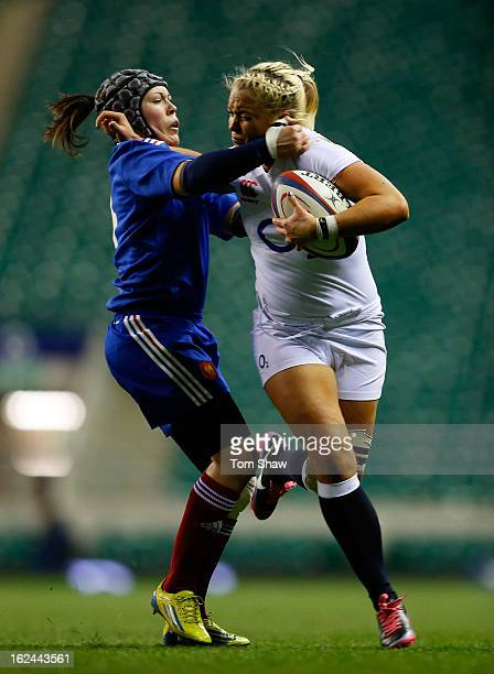 Marine De Nadai of France tackles Sally Tuson of England during the Women's RBS Six Nations match between England and France at Twickenham Stadium on...