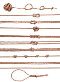 marine decorative elements collection set of rope with knot, isolated