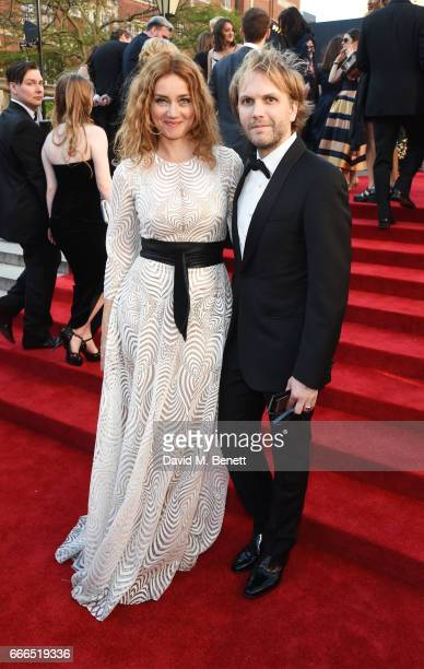 Marine Delterme and Florian Zeller attend The Olivier Awards 2017 at Royal Albert Hall on April 9 2017 in London England
