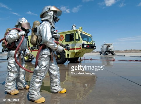 U.S. Marine firefighters stand ready during annual training.
