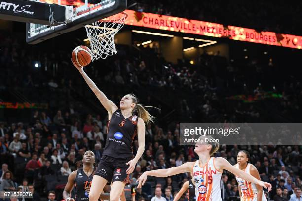 Marine Johannes of Bourges during the women's Final of the French Cup between Charleville Mezieres and Bourges Basket at AccorHotels Arena on April...