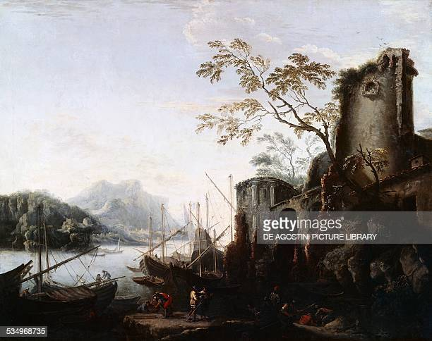 Marine Landscape with Towers with ships and ruins ca 1645 painting by Salvator Rosa oil on canvas 127x102 cm Florence Palazzo Pitti Galleria Palatina