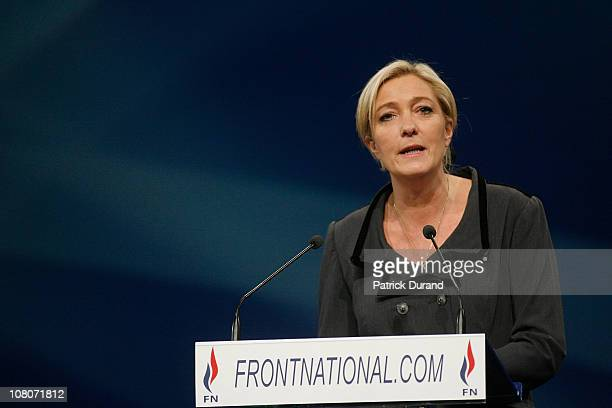 Marine Le Pen adresses the audience at the end of a conference where the French nationalist party Front National elected its new leader on January 16...