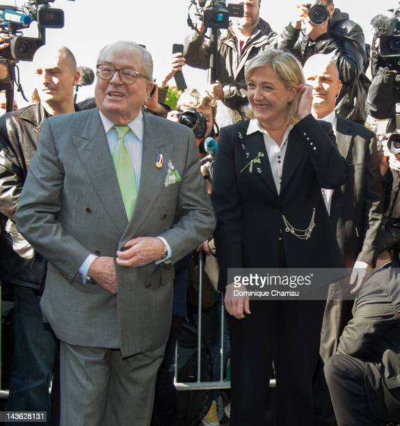 Marine Le Pen and her father JeanMarie Le Pen attend the French Far Right Party May Day demonstration on May 1 2012 in Paris France Marine Le Pen the...
