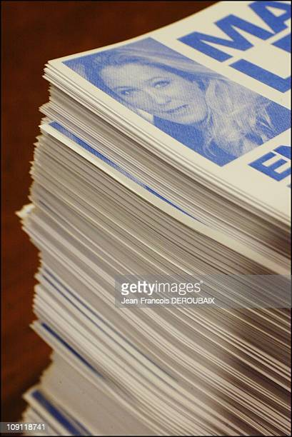 Marine Le Pen Attends A Banquet Held By Weekly Far Right Magazine 'National Hebdo' In Bagnolet As Part Of Her Campaigning For The Second Round Of The...